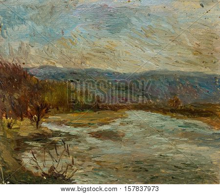 Beautiful Original Oil Painting of autumn landscape in dull tones On Canvas