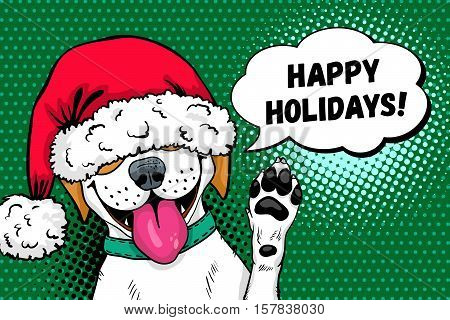 Wow pop art dog face. Funny surprised dog in Santa Claus hat with open mouth rises his paw up and Happy Holidays speech bubble. Vector Christmas illustration in retro comic style. New Year background.