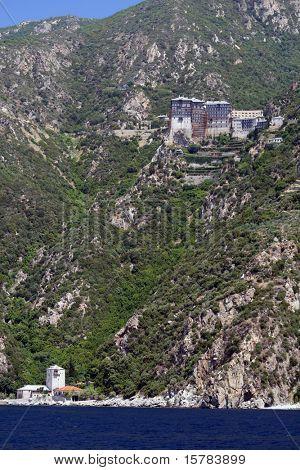 mountain of athos with monastery