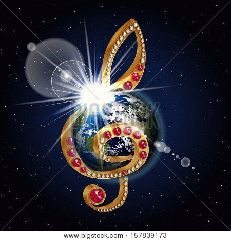 Golden treble clef with precious stones encircles the planet earth in space and bright flash on the horizon. The image is made on a black background and can be used with any image or text.