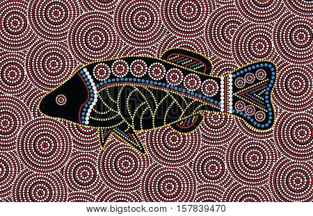 Aboriginal fish. Illustration based on aboriginal style of dot painting.