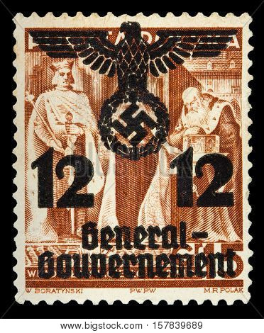 GERMAN REICH. Circa 1939 - c.1944: General Goudernement. A postage stamp with portraying of nazi symbols