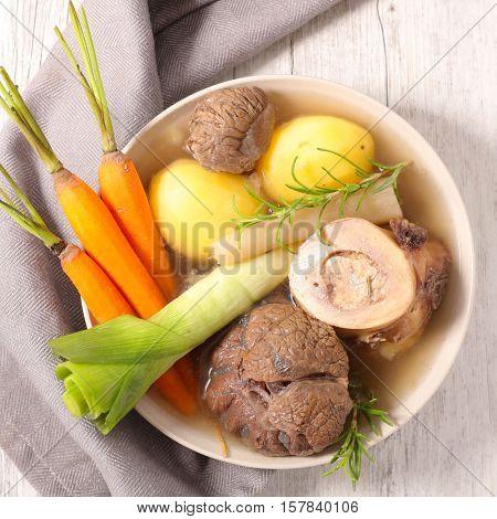 pot au feu,beef stew and vegetable