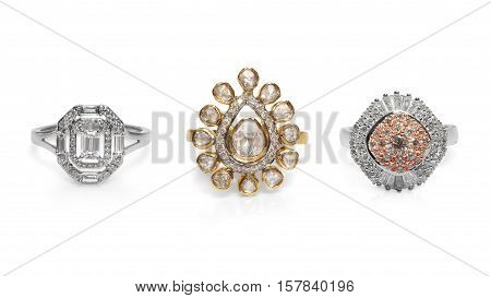 Close up of beautiful Diamond Rings , with many different precious Gemstone over black background