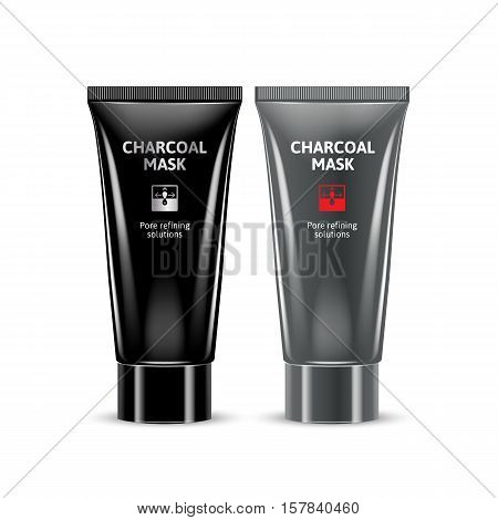 Charcoal Blackhead Remover Mask in different color of packages. Vector illustration of realistic packages for Charcoal Mask.