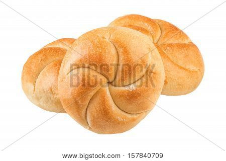 Buns on white closeup.Three buns isolated on white background.