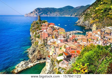 Vernazza Cinque Terre. View from high hill of with houses and blue Mediterranean Sea Cinque Terre national park Liguria Italy
