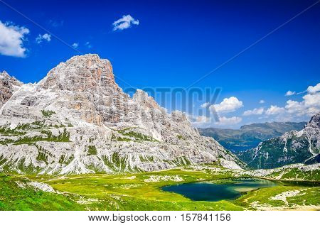 Dolomites Alps Italy. Wilderness scenery of Sesto Dolomites in Northern Italy South Tyrol landmark with dolomites ridge near Tre Cime di Lavaredo.
