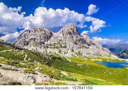 Dolomites Alps Italy. Wilderness scenery of Sesto Dolomites in Northern Italy South Tyrol landmark with dolomites ridge near Tre Cime di Lavaredo.