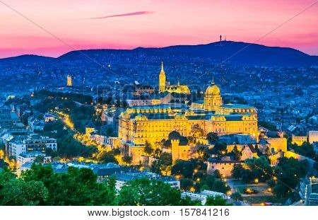 Budapest Hungary. Buda Castle as seen from Gellert Hill in Magyar capital city.