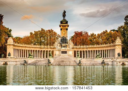 Madrid Spain. Buen Retiro park outdoor natural landmark of Spanish capital city.