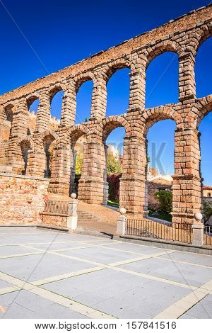 Segovia Castilla y Leon. Roman aqueduct bridge of Segovia in Castile Spain.