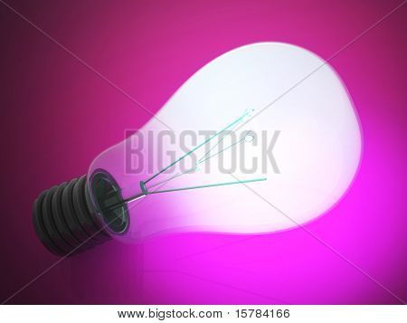 Close up of a glowing lightbulb