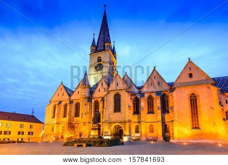 Sibiu Romania. Evangelical Cathedral in the center of Sibiu Transylvania European Capital of Culture for the year 2007.