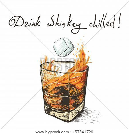 ice falls in whiskey.Design of alcoholic drinks.Vector illustration