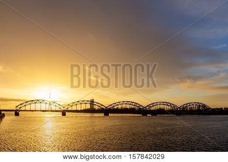 Railway bridge over the Daugava river Riga
