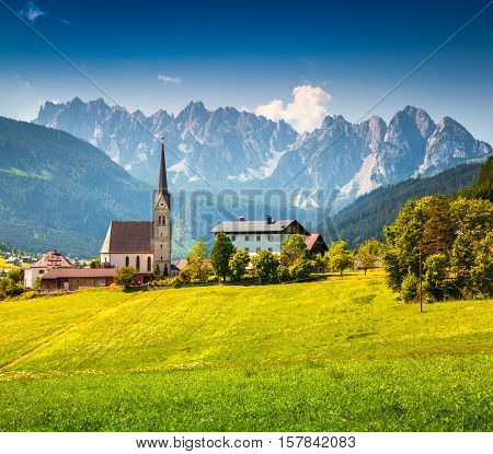 Countryside View Of The Gosau Village At Summer Sunny Day