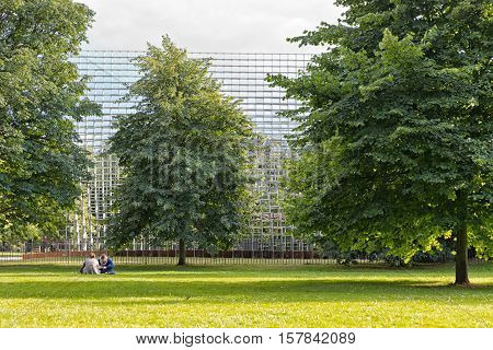 July 2016 - London England : The Serpentine Gallery Pavilion designed by Danish architects BIG (Bjarke Ingels Group) at Hyde Park on 28 July 2016 in London United Kingdom