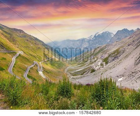 View From A Bird's Eye Of Stelvio High Alpine Road.