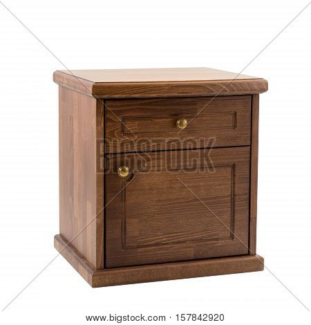 Wooden furniture isolated on white. Brown classic nightstand.