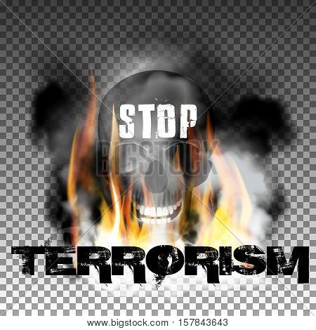 Stop terrorism in the fire smoke and skull with an inscription in a ragged style. Isolated objects can be used with any image, text or background.
