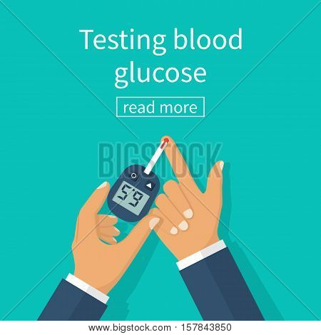Diabetes concept man holds in hand glucometer measures blood sugar level. Blood drop test strip. Medical diagnostics apparatus at home. Vector illustration flat design. Equipment monitoring health.