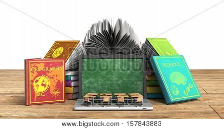 Mobile Knowledge School Or College Education Business Office Work And Electronic Media Concept Lapto