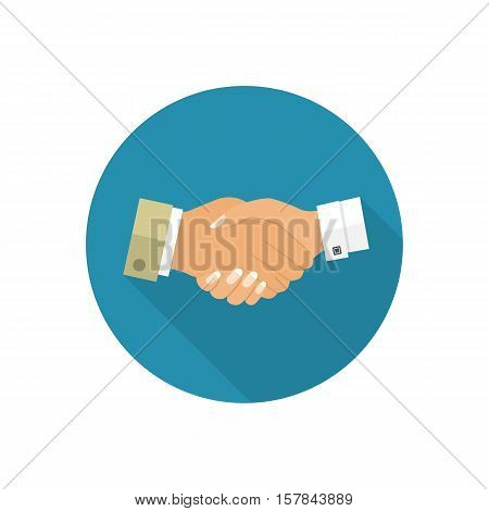 Handshake men and women icon. Handshake of business people partners businessmen and businesswomen. Hand shaking meeting agreement. Vector flat design. Symbol of successful transaction.