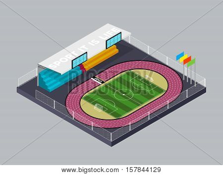 Soccer stadium. Football. Football field and running track in isometric style. Flat isometric icon. Welcome to stadium. Vector illustration