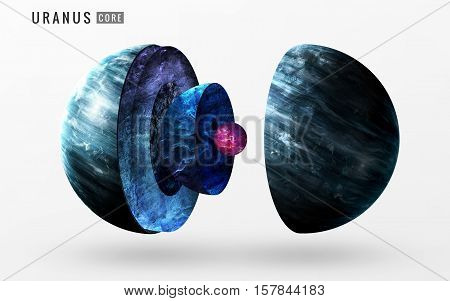 Uranus inner structure. Elements of this image furnished by NASA