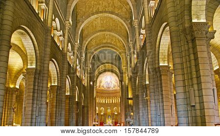 MONACO - FEBRUARY 21 2012: The interior of Neo-Romanesque Cathedral of Our Lady of Immaculate Conception located in Monaco-Ville on February 21 in Monaco.