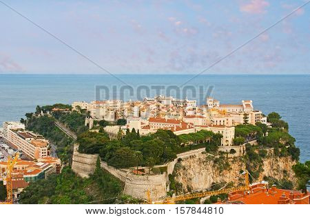 The oldest quarter of Monaco named Monaco-Ville located on the Rock at the Mediterranean sea coast and surrounded by preserved parts of the citadel wall.