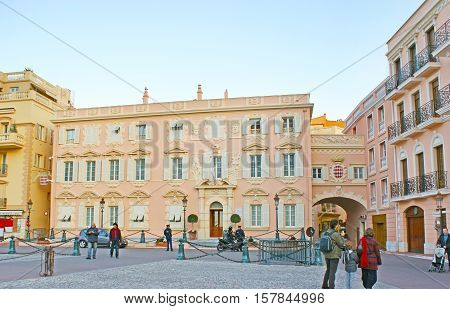 MONACO - FEBRUARY 21 2012: The Palace Square is famous for the Prince's Palace and beautifull mansion of the Town hall on February 21 in Monaco.