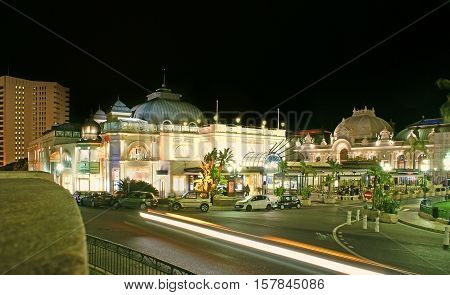 MONACO - FEBRUARY 20 2012: The famous Cafe de Paris in Casino Square is the best place to spend romantic evening in Monte Carlo on February 20 in Monaco.
