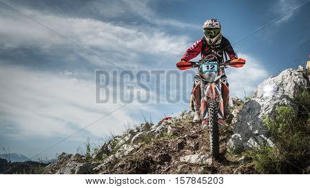 Rider performs during European Enduro Championship, 1st stage in Bussi Sul Tirino, Italy. 28 April 2013.