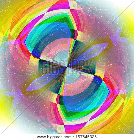 Abstract object with pink, blue, green and yellow spectral rays and stars. Stylized infinity symbol with rays
