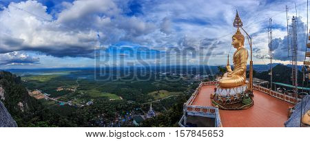 Panorama Lanscape Buddha statue on top view at