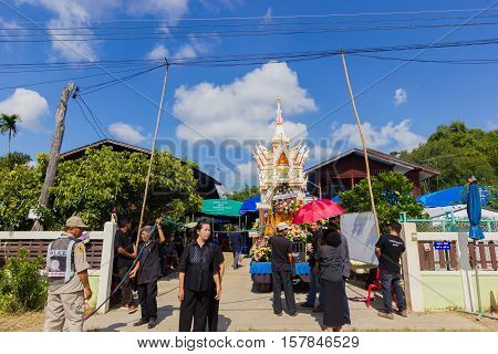 CHIANG RAI THAILAND - NOVEMBER 19 : unidentified Thai people in funeral preparing direction for walking to the graveyard on November 19 2016 in Chiang rai Thailand