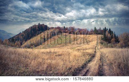 Misty Autumn Morning In The Carpathian Mountains.