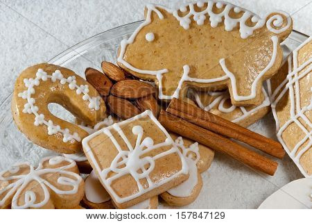 Christmas gingerbread with walnuts on the table