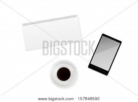 White cup of morning dark coffee with blank calendar and phone on white background.