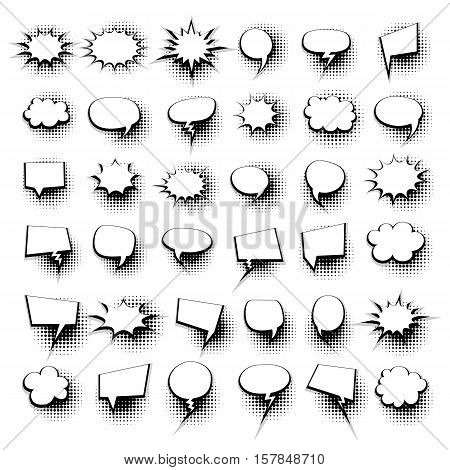 Big set 36 hand drawn picture blank template comic speech bubbles halftone dot background style pop art. Comic dialog empty cloud, space text pop art. Creative idea conversation comic sketch explosion