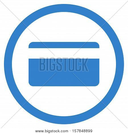 Plastic Card vector rounded icon. Image style is a flat icon symbol inside a circle, cobalt color, white background.