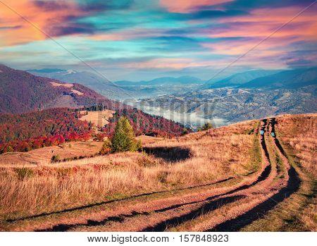 Colorful autumn sunrise in the Carpathian mountains. Krasna ridge Ukraine Europe. Instagram toning.