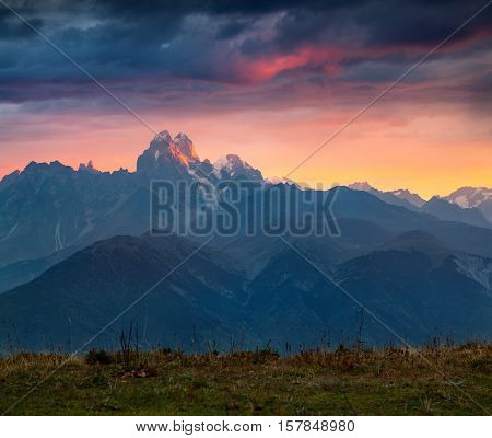 Colorful Autumn Sunrise In The Caucasus Mountains.