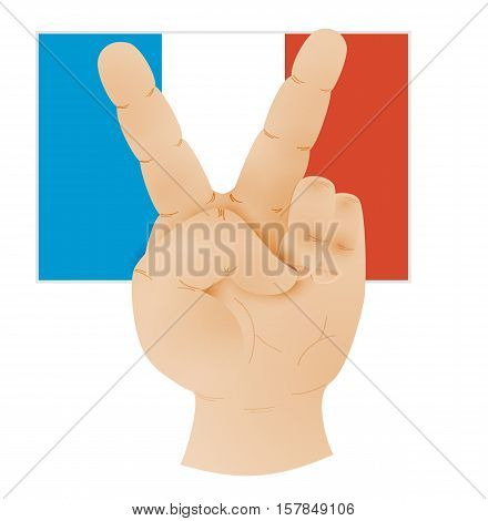 Hand Showing Peace Sign And Flag Of France