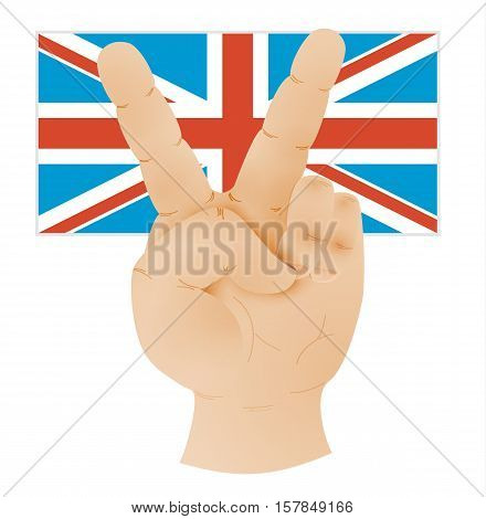 Hand Showing Peace Sign And Flag Of United Kingdom