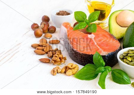 Set of food with high content of healthy fats and omega 3 copy space