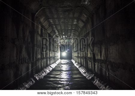 Underground river Neglinnaya flowing in the collector sewer under Moscow. Favorite place of Moscow diggers