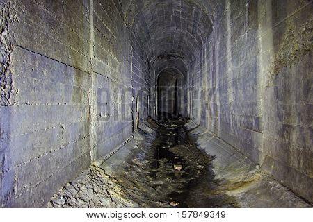 Underground tunnel in Moscow, connected with underground River Neglinnaya